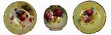 Royal Worcester Floral Vase & Two Dishes