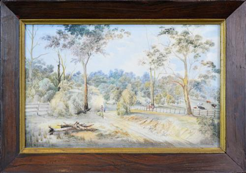 Francis Blower Gibbes (1815 - 1904) - Two Figures On A Country Road, Hunter Valley, N.S.W. 1879 31 x 49cm