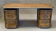 An Industrial Art Deco Twin Pedestal Desk