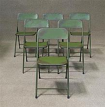 Set of Six Metal Folding Chairs in Green