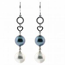 Ladies 18ct white gold Diamond Tahitian & Cultured Pearl drop earrings