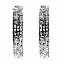 Ladies 9ct white gold Diamond Hoop Earrings