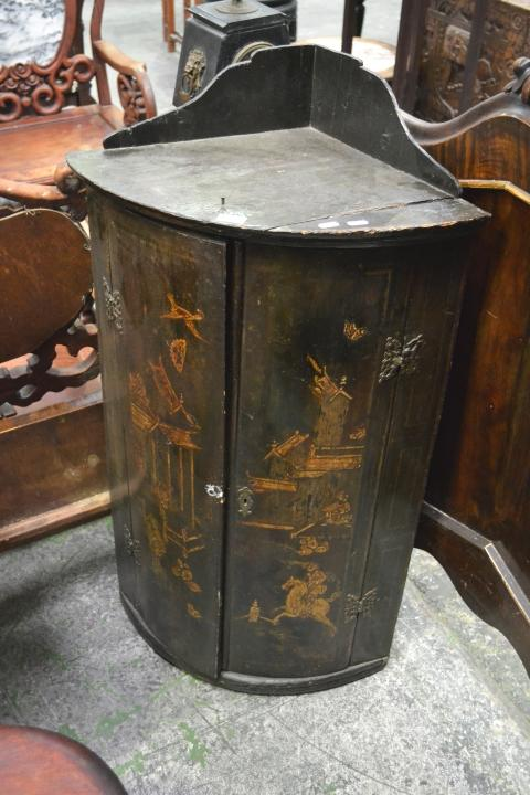 18th century black chinoiserie style hanging corner cabinet for 18th key of the door
