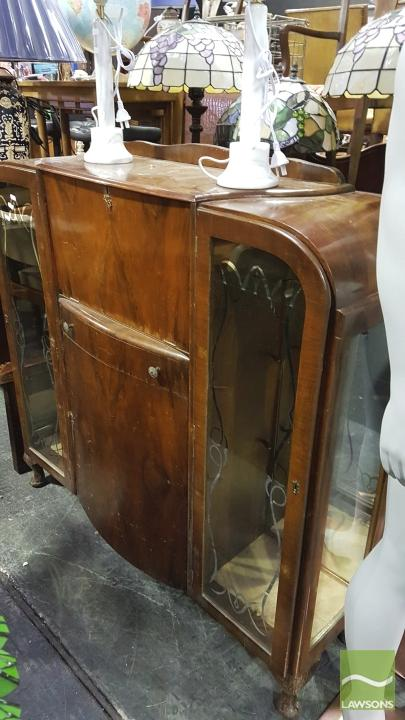 Mahogany Display Cabinet With Bureau