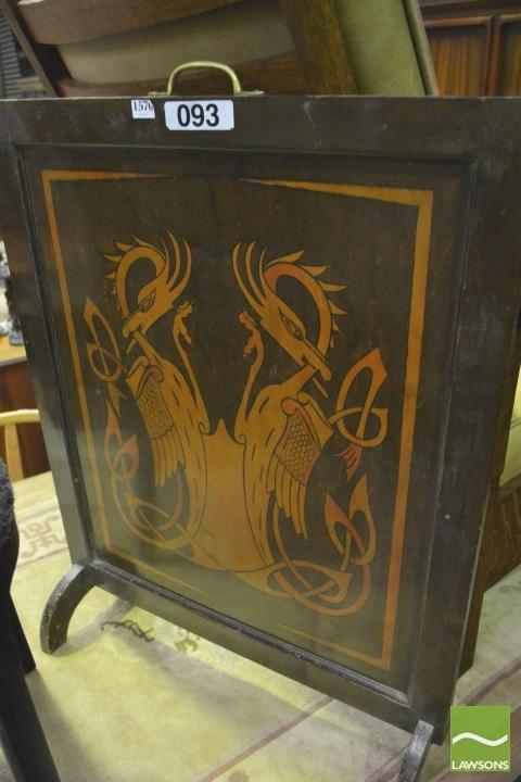 An Art Deco Mahogany Fire Screen