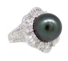 14.79mm Center Black Tahitian Pearl Ring 18K Apprisal Certifacate $35,600