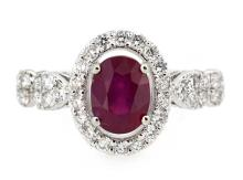 1.77ct. Oval Shape Ruby Ring 18K
