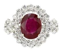 2.96ct. Center Oval Shape Ruby Ring 18K