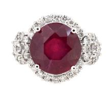 8.64ct.Center Round Ruby Ring 18K