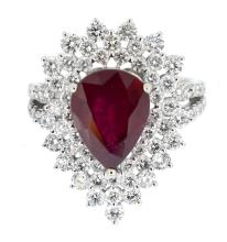 4.31ct. Center Pear Shape Ruby Ring 18K