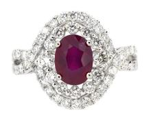 1.76ct. Center Oval Shape Ruby Ring 18K
