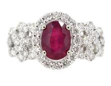 1.98ct.Center Oval Ruby Ring 18K