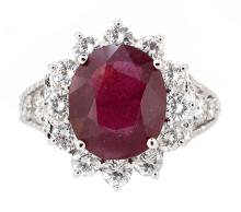4.49ct. Center Oval Shape Ruby Ring 18K