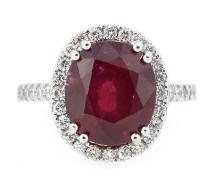 7.58ct. Center Oval Shape Ruby Ring 18K
