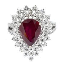 4.31ct. Center Pear Shape Ruby Ring 18K