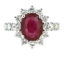 3.83ct. Center Oval Shape Ruby Ring 18K