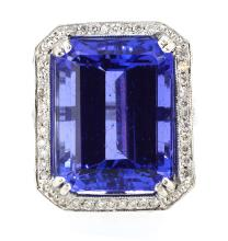 17.21ct. Center Emerald Cut Tanzanite Ring 18K Apprisal Certifacate $77,500