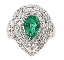 2.01ct. Pear Shape Emerald Ring 18K Apprisal Certifacate $25,000