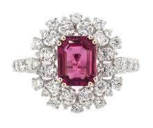 1.80ct. Center Emerald Cut Tourmaline Ring 18K