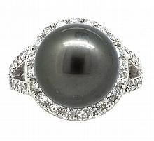 13.94mm Center Black Tahitian Pearl Ring 18K
