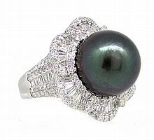 14.79mm Center Black Tahitian Pearl Ring 18K