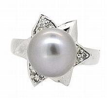 10.67mm Center South Sea Tahitian  Pearl Ring 14K