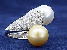 White & Yellow South Sea Pearl Ring 18K
