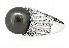 13.91mm Center Black Tahitian Pearl Ring 18K