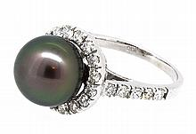11.11mm Center Black Tahitian Pearl Ring 18K