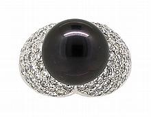13.56mm Center Black Tahitian Pearl Ring 18K