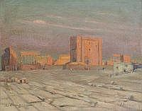 GEORGES C. MICHELET Ruins at Palmyre, Egypt. Oil