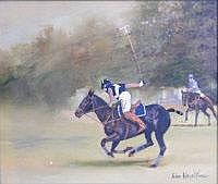 JOHN HESELTINE The polo player. Oil on board.