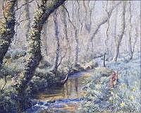DENYS LAW Lamorna stream. Oil on board. Signed. 41