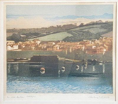 GEOFFREY GARNIER The Old Harbour, Newlyn. Etching