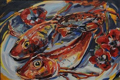 NICOLA BEALING Red Mullet. Oil on paper.