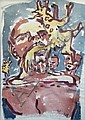 NICOLA BEALING Man Eats Dog. Wash on paper., Nicola Bealing, Click for value