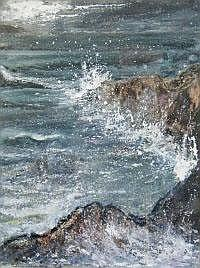 JANE SCOTT Night Light on Sea. Mixed media. Signed