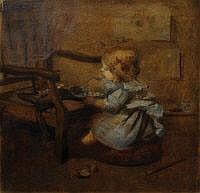 SARA McGREGOR Playing with a doll. Oil on board.