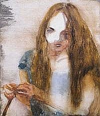 JESSE LEROY SMITH Huntress. Oil on panel. Signed,