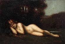 Jean Jacques HENNER (1829-1905). Nymphe couchée, c