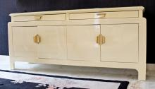 Mid Century Modern Karl Springer Cream Lacquer Credenza Sideboard Brass Accents