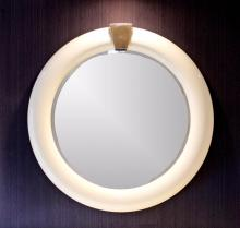 Mid Century Modern Karl Springer Round Lacquer and Brass Mirror