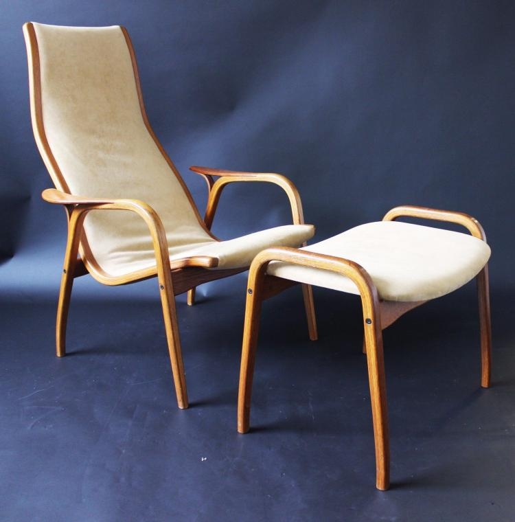 Mid Century Modern Pair of Suede Lamino Chairs and Ottomans