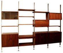 Mid Century Modern George Nelson 4 Bay Walnut Aluminum Omni Wall Shelf Unit