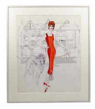 Rare Andy Warhol Lady of the Manor Ink & Ink Wash Drawing on Paper 1959 COA