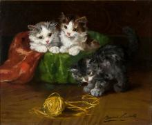 Alfred Arthur Brunel De Neuville / French, 1852-1941 / Three kittens with Ball of Yarn