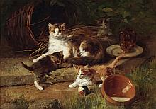 Alfred Arthur Brunel De Neuville / French 1852-1941 / Mother and Kittens at Play