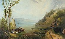 George Loring Brown / American, 1814-1889 / Pastoral Landscape with Locomotive and Picnic Goers