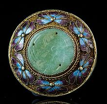 A SMALL CLOISONNE ENAMEL CIRCULAR BOX AND COVER
