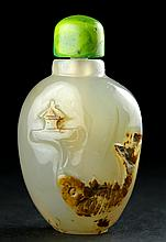AN END OF QING AGATE FINELY CARVED 'FISH' SNUFF BOTTLE